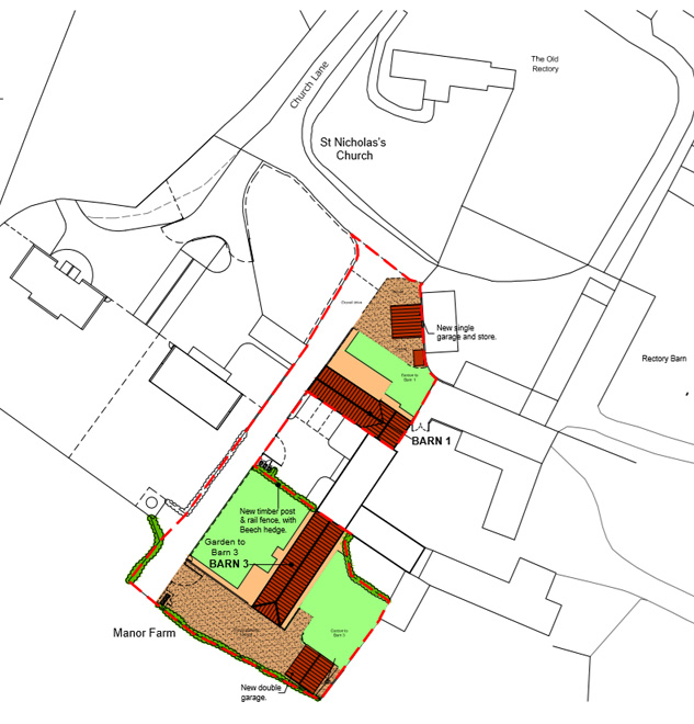 Planning Application for Garages at the Barns near the Church